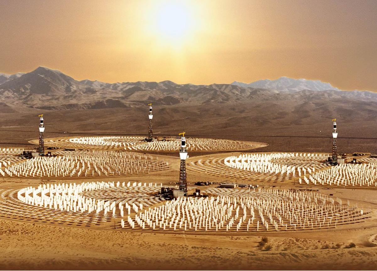 Artist's conception of a commercial hydrogen production plant that uses sunlight to split water to produce clean hydrogen fuel (Image: University of Colorado Boulder)