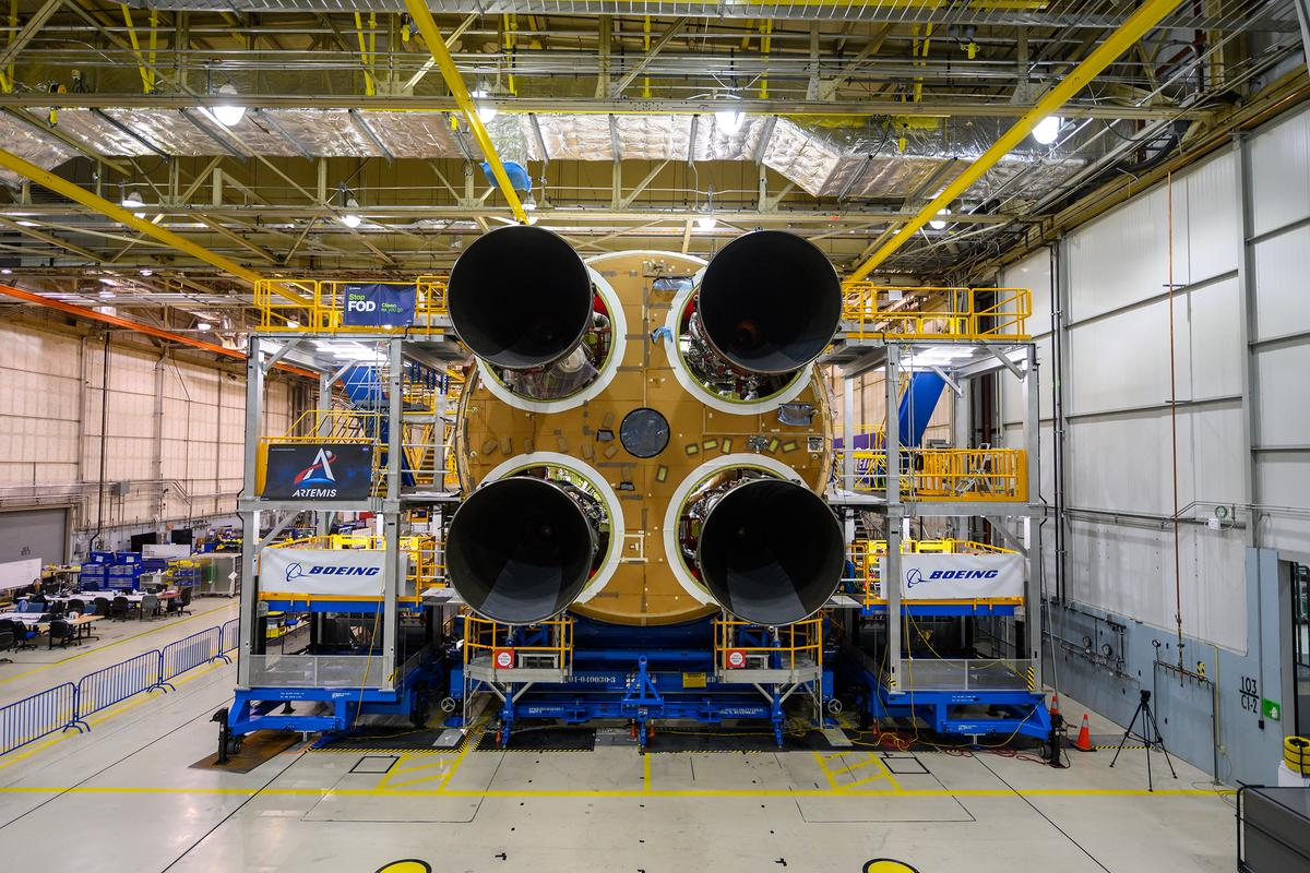 The first SLS core stage, complete with four refurbished RS-25 engines