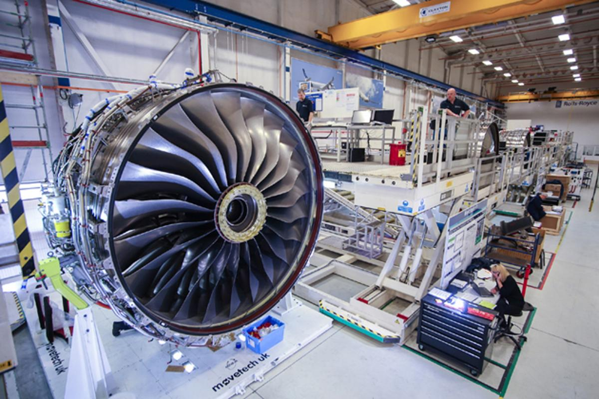 The first Trent XWB moving from the factory floor