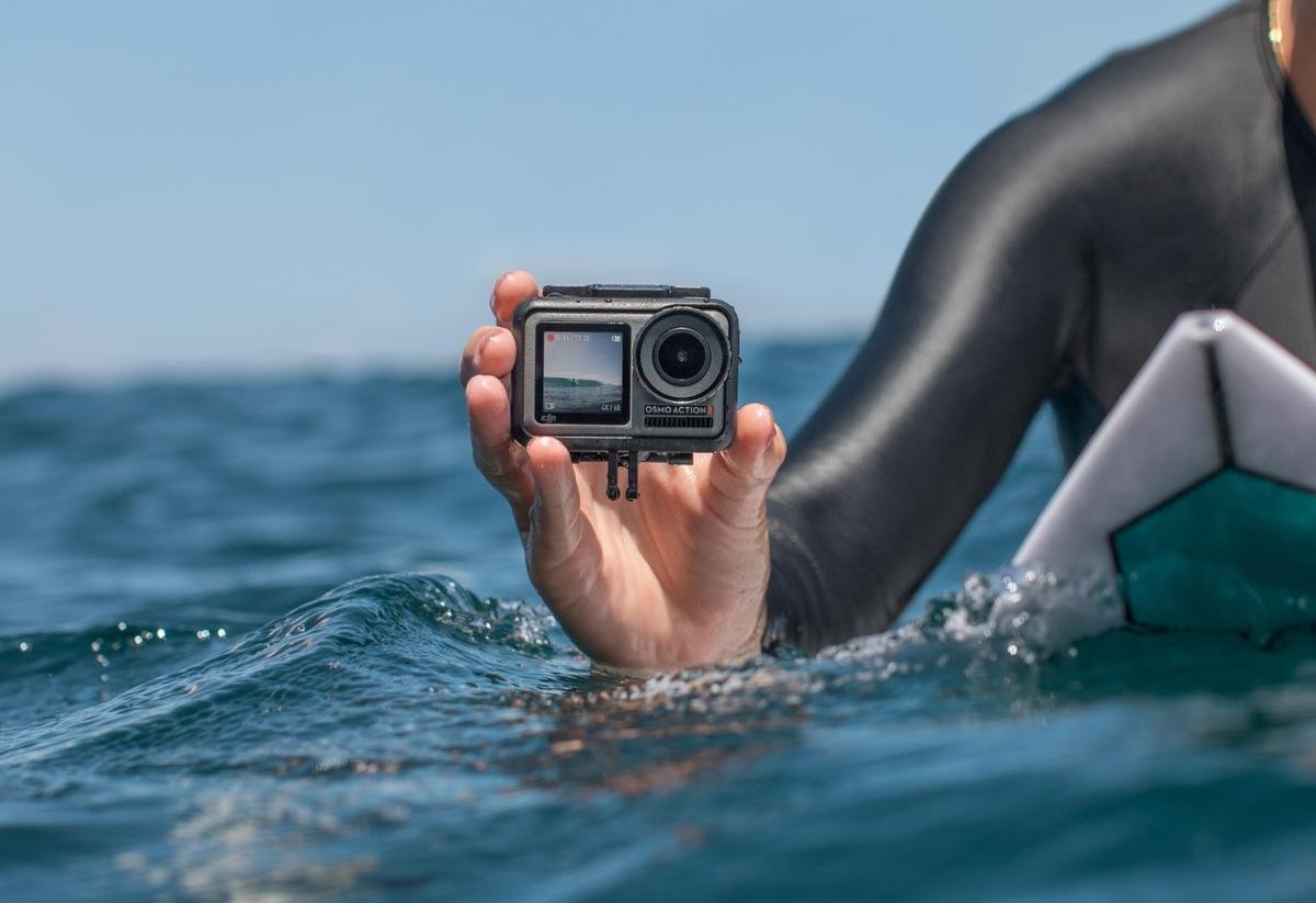 Without a waterproof case, the DJI Osmo Action can operate under the waves to a depth of 36 feet