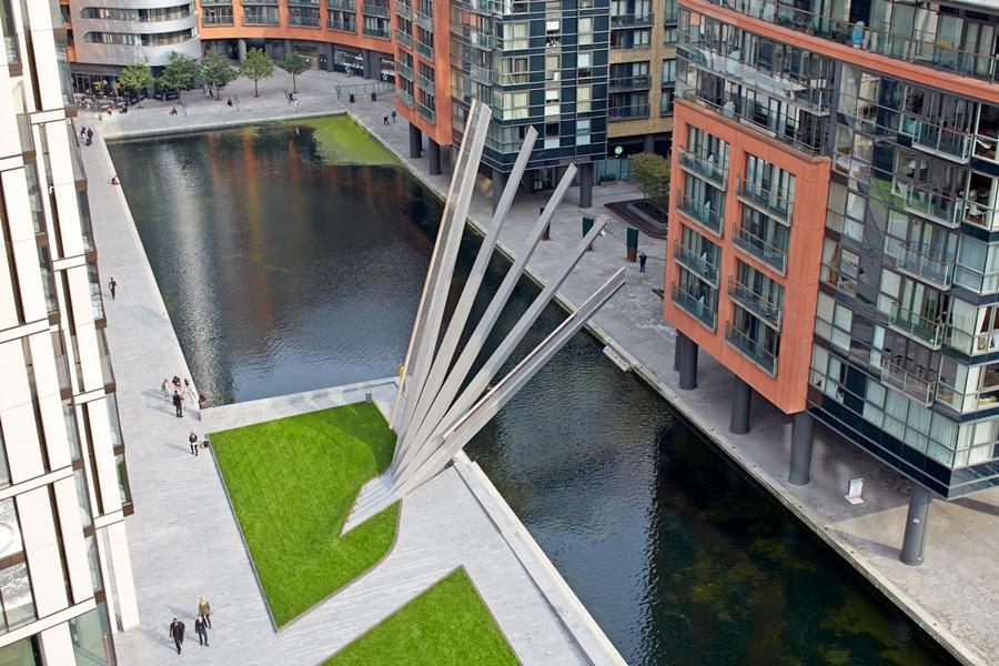The newly-opened Merchant Square Footbridge in Paddington, London, opens like a Japanese fan
