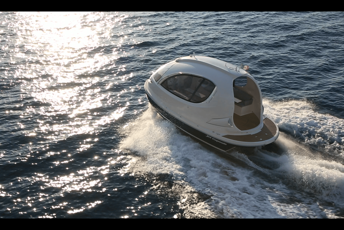 "Italian design studio Lazzarini recently presented its first ""mini yacht"" during the 2013 Monaco Yacht Show"