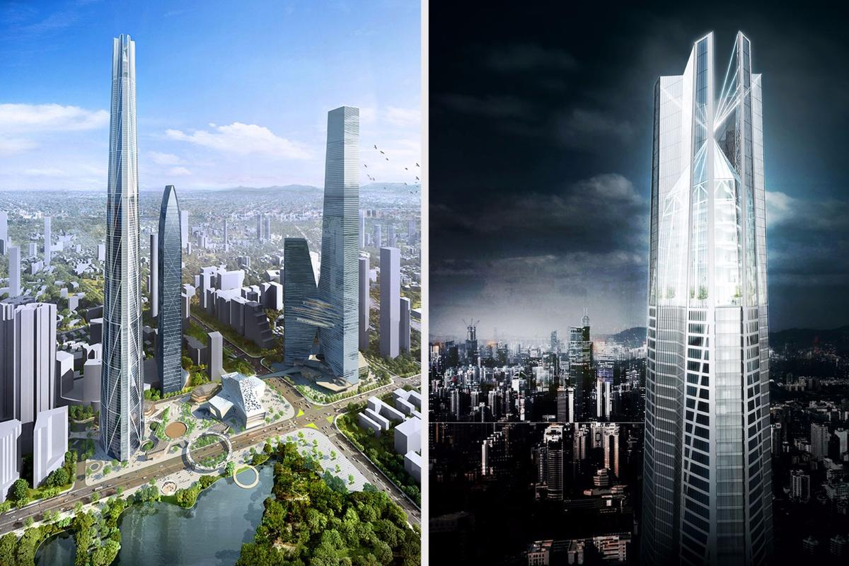 Developed by the Shenzhen Kingkey Group, the H700 Shenzhen Tower would rise to a height of 739 m (2,424 ft)