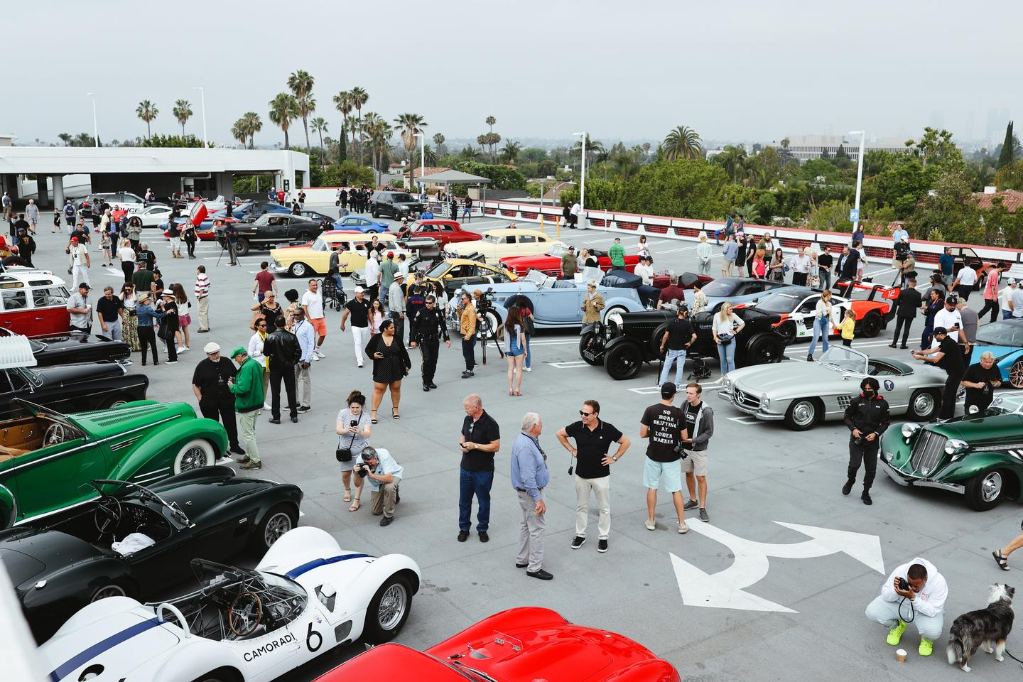 Preparations and final briefing prior to getting the 2021 Beverly Hills Tour d'Elegance underway at the Petersen Automotive Museum
