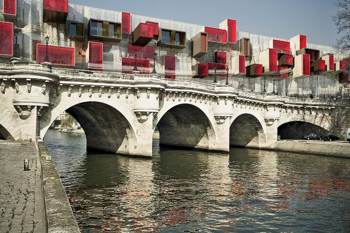 From Malka Architecture comes a concept called Pont9 New Bridge. Referred to as a micro-city, the design is modular, mounted on scaffolding, and intended to sit on top of other urban spaces such as footbridges