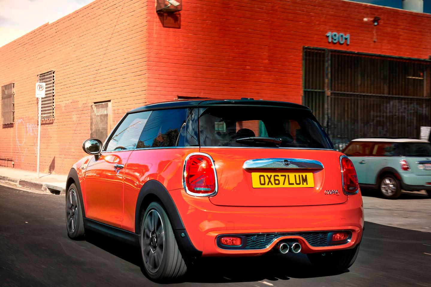 Mini has incorporated the union jack into the taillamp lighting structure to accentuate the car's heritage