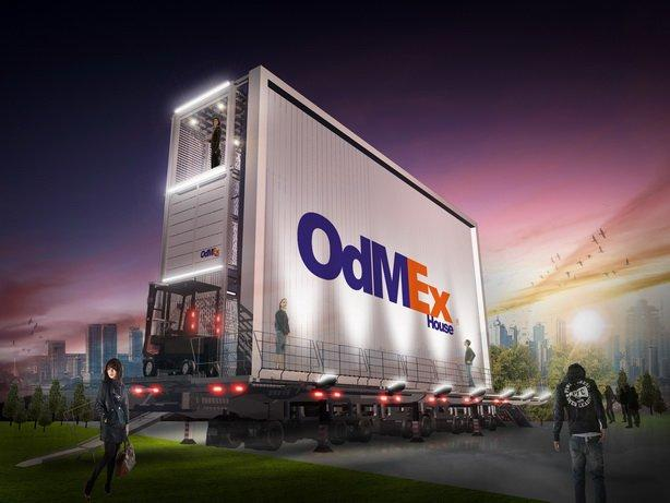 The OdMEx house concept sees a house built onto the back of a mobile billboard