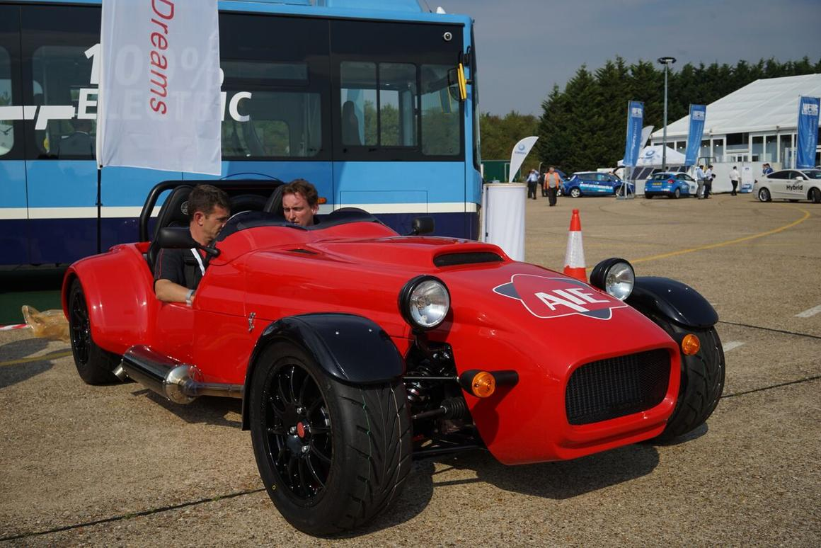The AIE rotary-powered roadster took a drive at the Millbrook Proving Ground last week