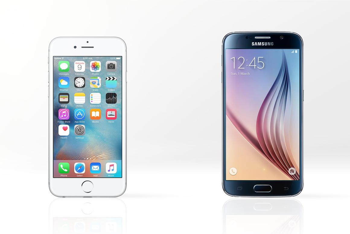 How does the new iPhone 6s (left) compare with the Samsung Galaxy S6?