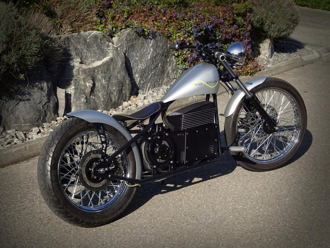 Sine Cycles has opted for an electric powertrain for its custom old school chopper