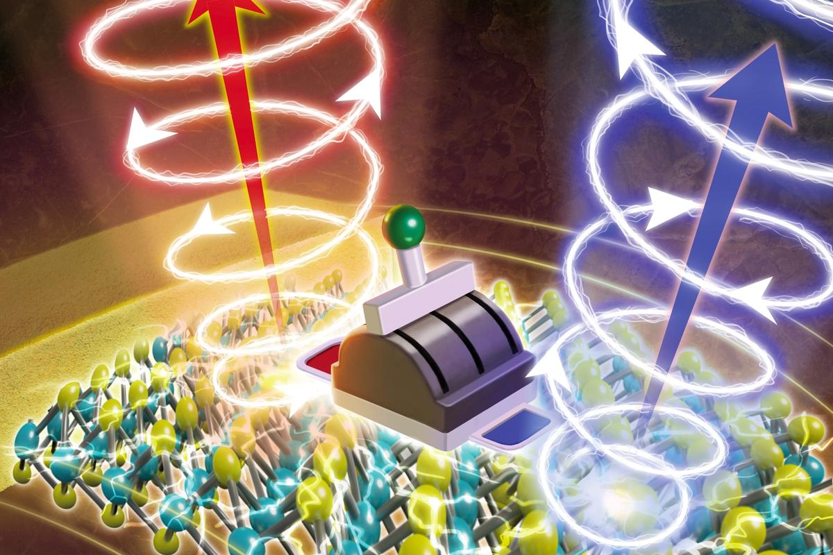 An artist's impression of the new quantum computing device, which can twist the polarization of light left or right on demand at room temperature