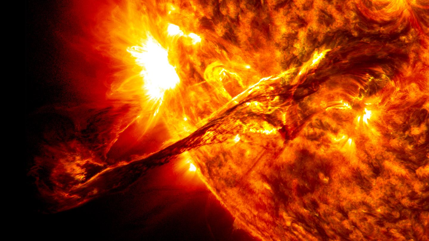 Image of a solar prominence captured by NASA's Solar Dynamics Observatory in 2012