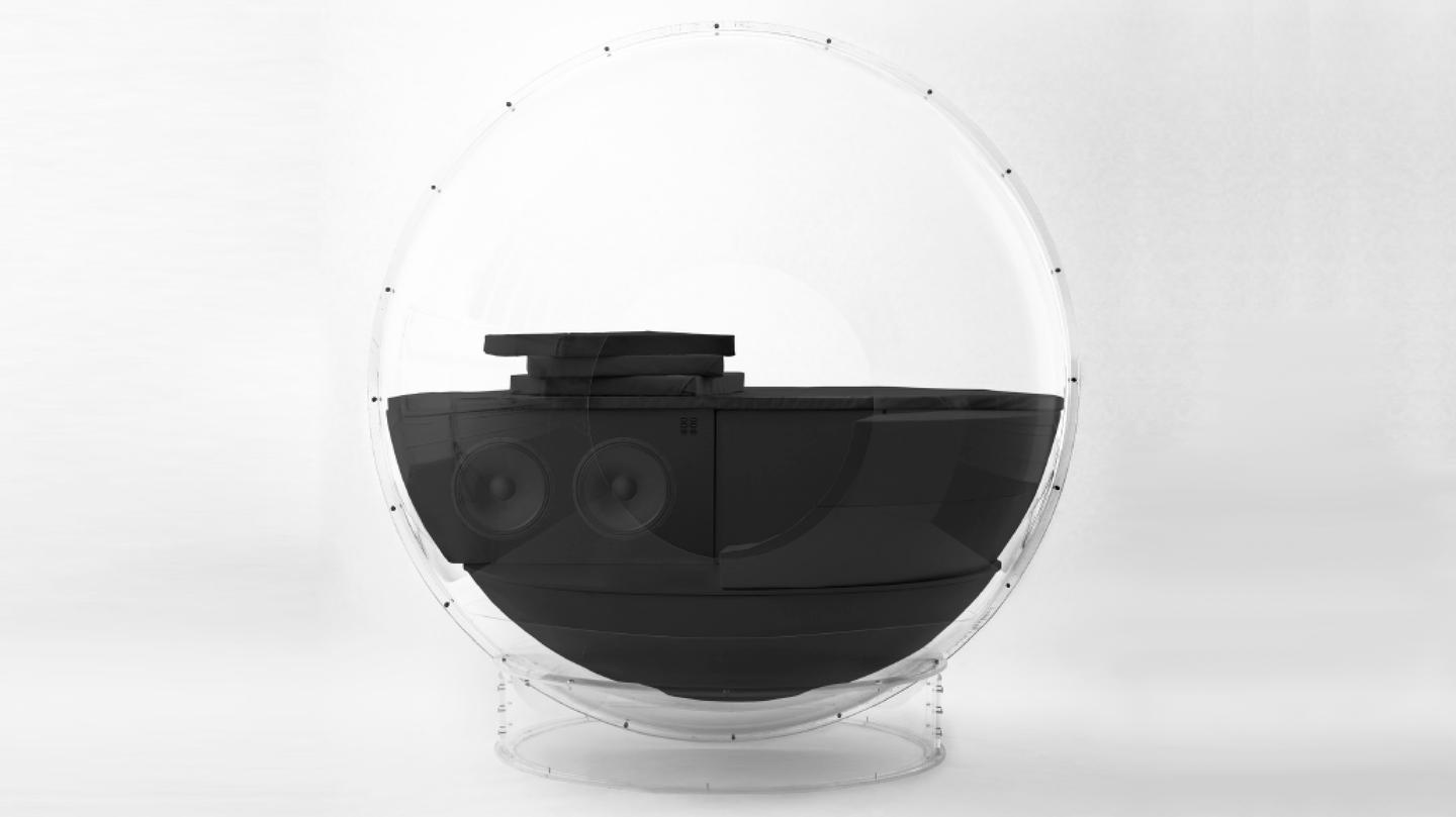 The AudioOrb packs a clear plastic sphere with 18 speakers
