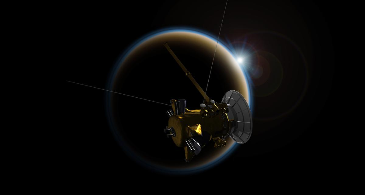 Artist's impression of Cassini passing near Titan