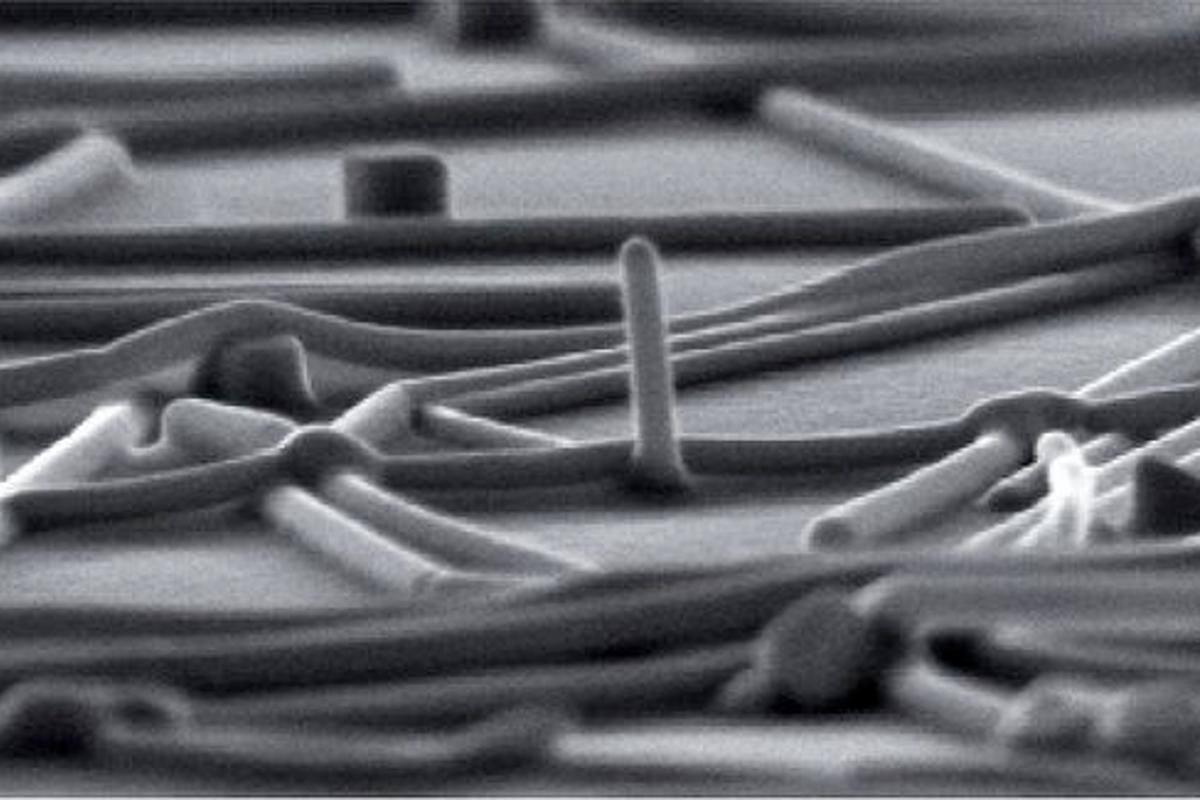 One of the nanowire meshes, created by the Stanford scientists