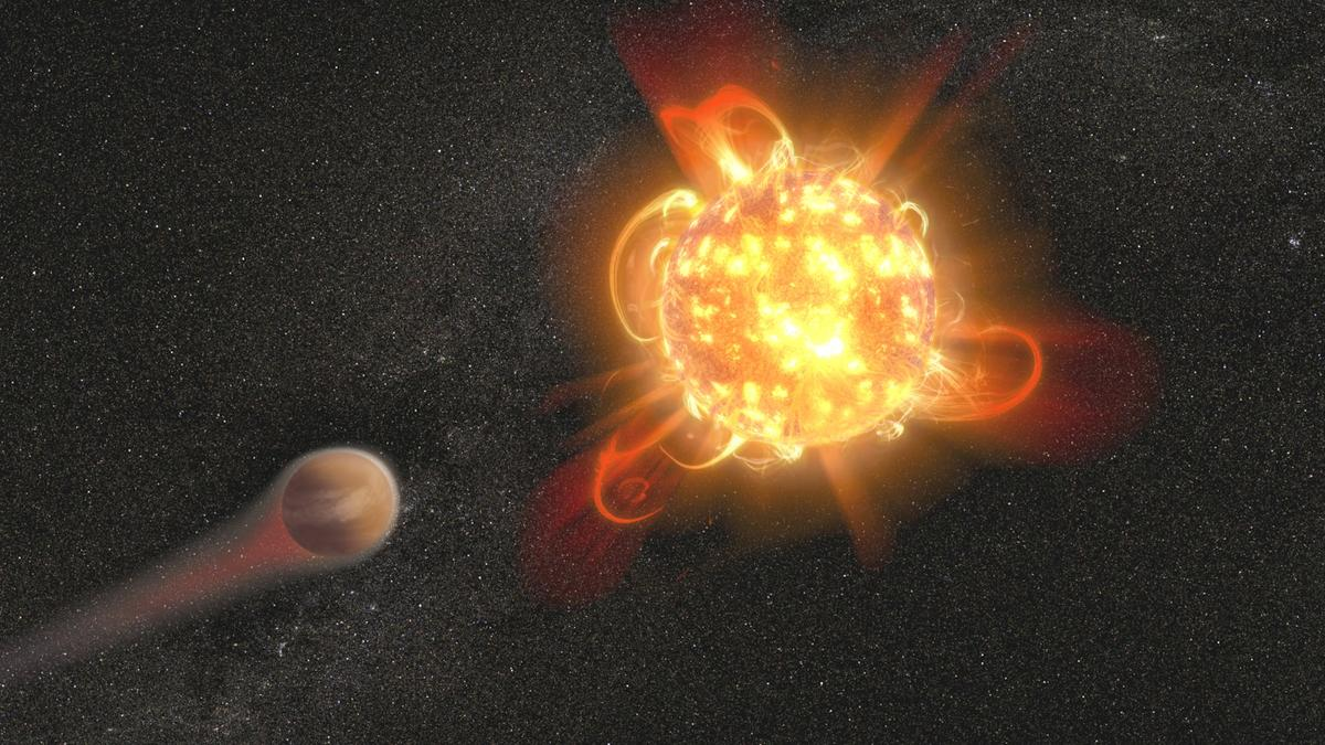 An artist's rendering of a red dwarf star, which could sterilizeexoplanets with its intense radiation and frequent strong flares