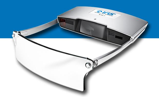 Iris consists of a 720p laser projection unit which is joined by a pair of arms to a flip-down transparent screen