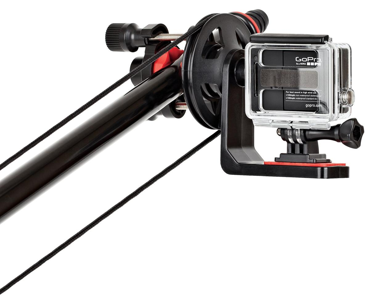 The pulley system on the Joby Action Jib Kit is used to rotate the camera