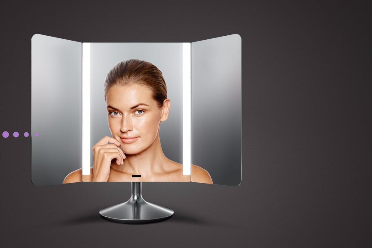 The Wide-View Sensor Mirror's lighting strips take on color temperatures that are selected (or user-created) on an app