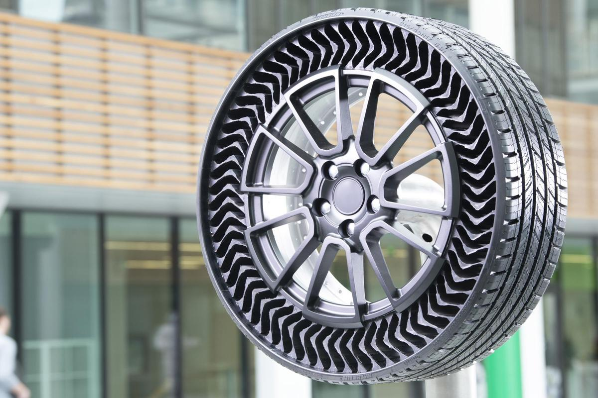 Michelin's Uptis tire, being developed in partnership with GM, places an airless structure on top of a specially designed rim