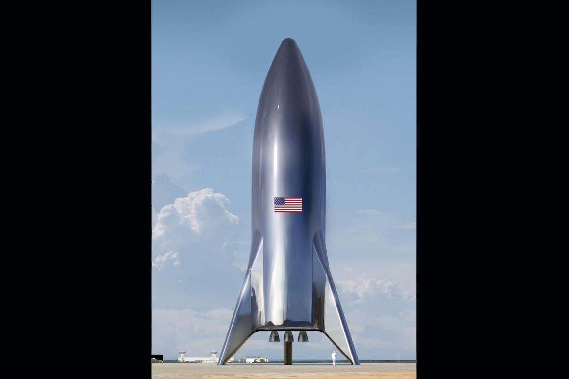 The assembled SpaceX Starship test vehicle doesn't look quite as smooth and shiny as this render from Elon Musk, but its retro futuristic look is the same