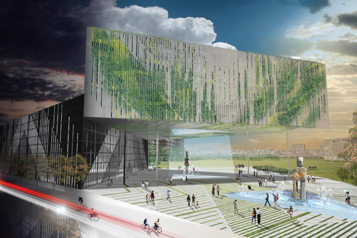 LOT-EK's proposal calls for the use of 1,620 recycled shipping containers as a building material (Image: LOT-EK)