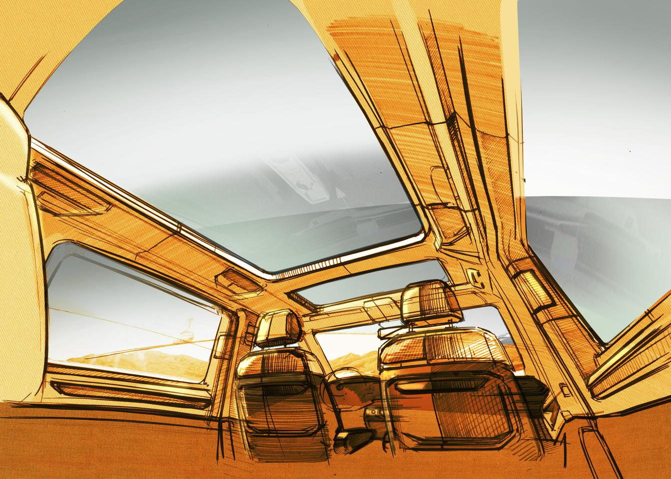 Volkswagen teases a large Multivan glass roof and a more versatile interior with full floor rail system and only individual seats