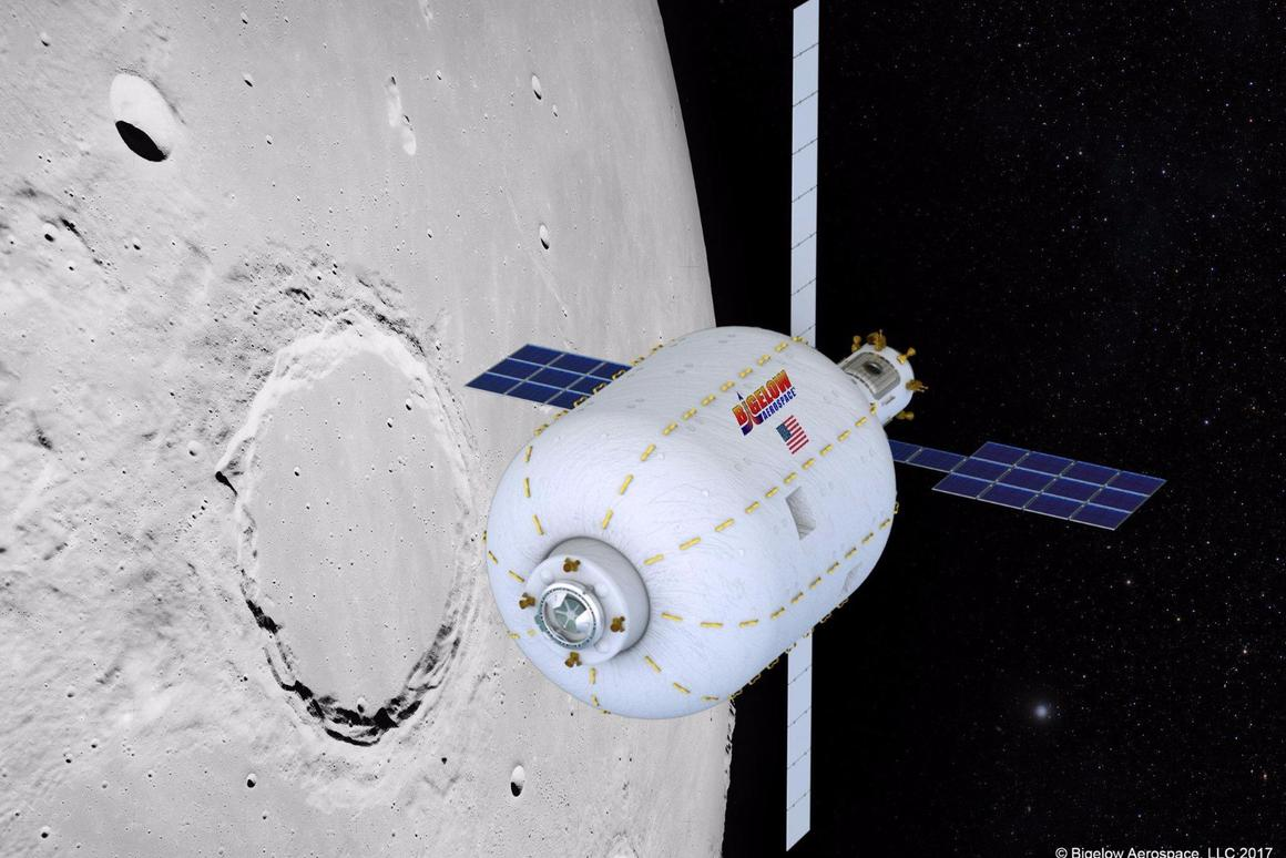 The plan is to place a Bigelow B330 inflatable habitat in lunar orbit by 2022