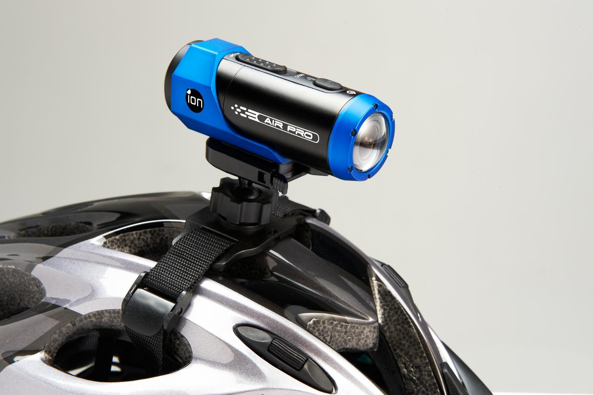 The ION AIR PRO HD Sports Video Camera can wirelessly link to a mobile device via a small disc attached to the rear, and upload footage to the web in real-time