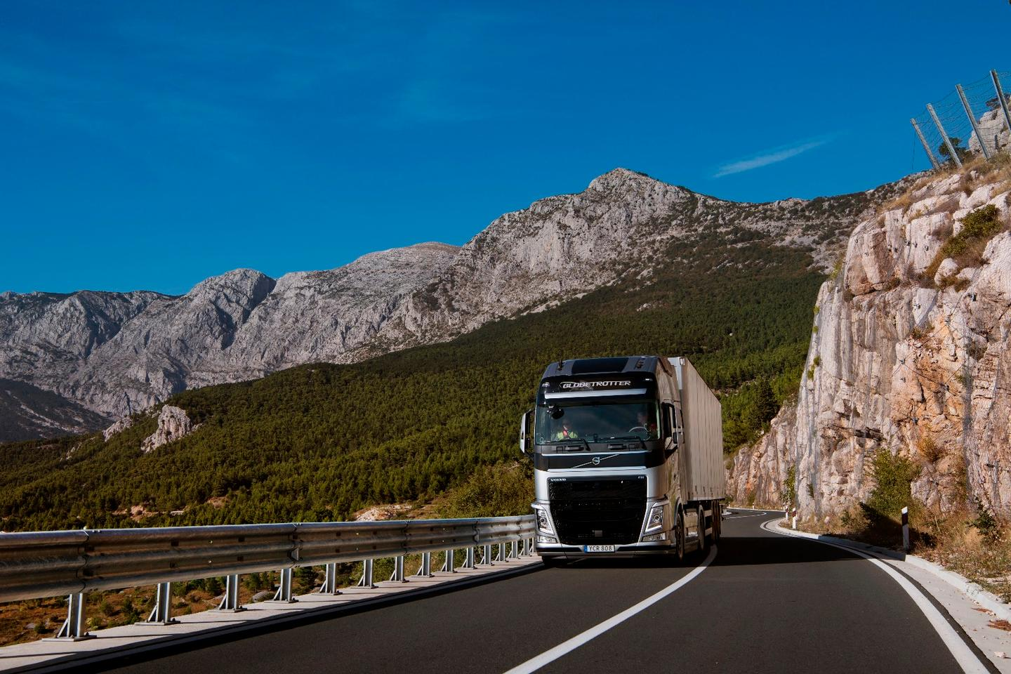 The Volvo truck used in the test makes its way up a Croatian mountain pass