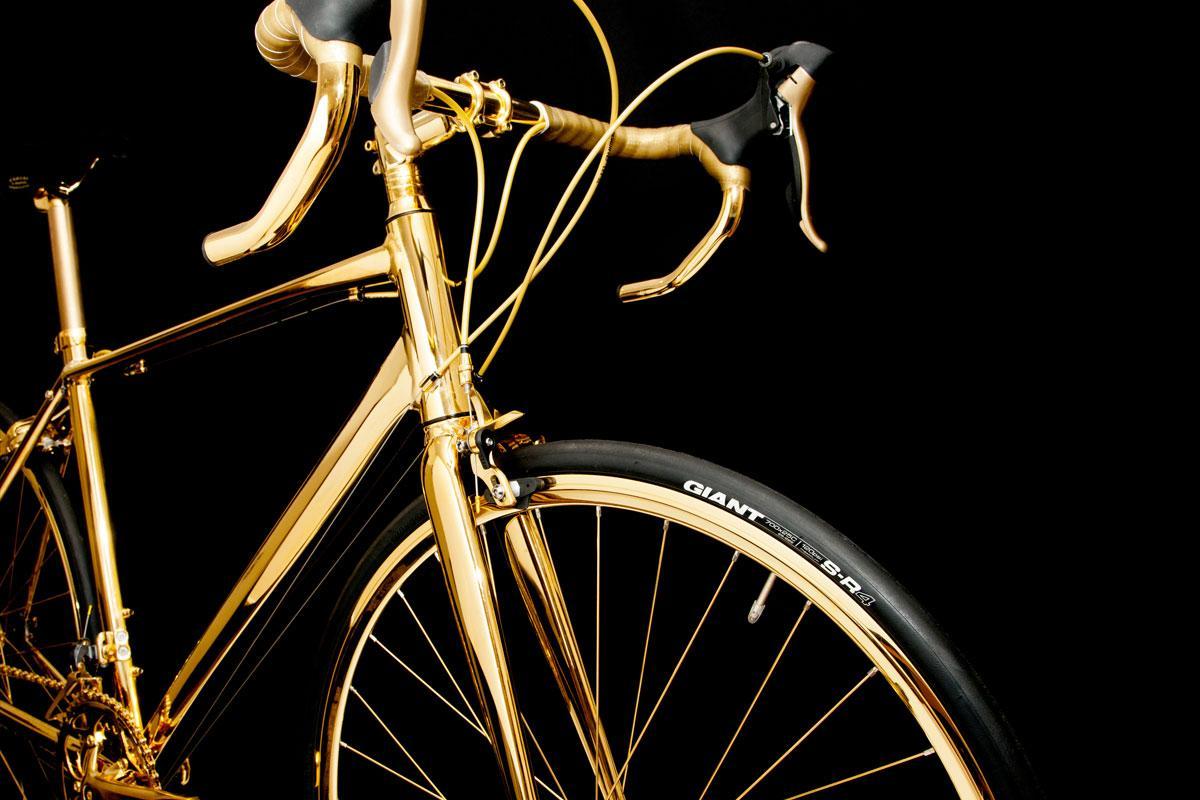Goldgenie's 24-karat gold plated bicycle: golden handlebars