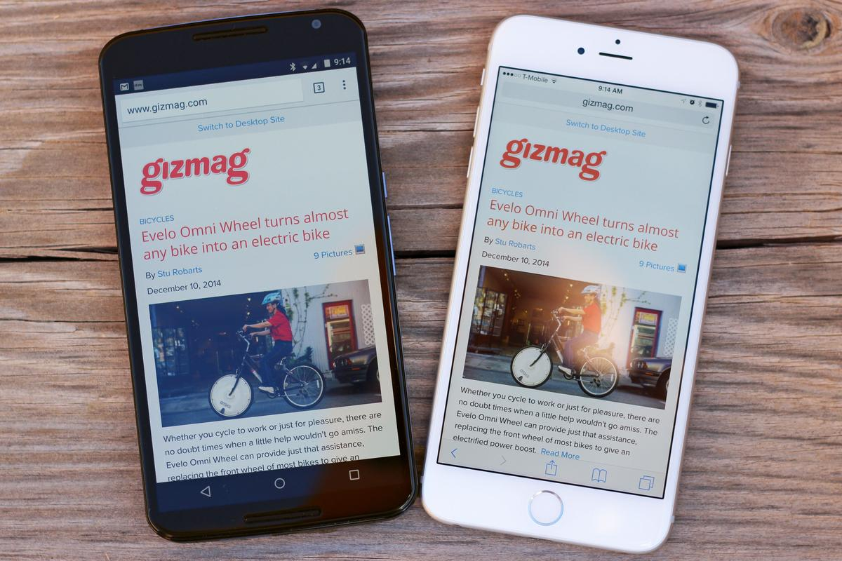 Gizmag goes hands-on to compare the Google Nexus 6 (left) and Apple iPhone 6 Plus (Photo: Will Shanklin/Gizmag.com)