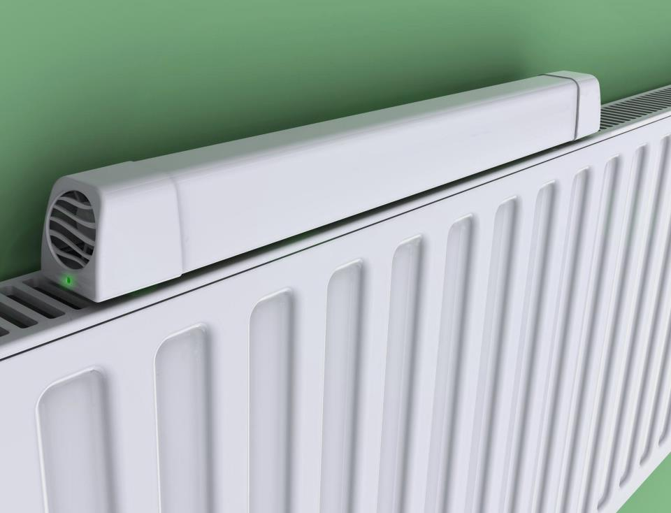 The Radiator Booster is a temperature-activated fan, that draws warm air out from behind a radiator and into the room