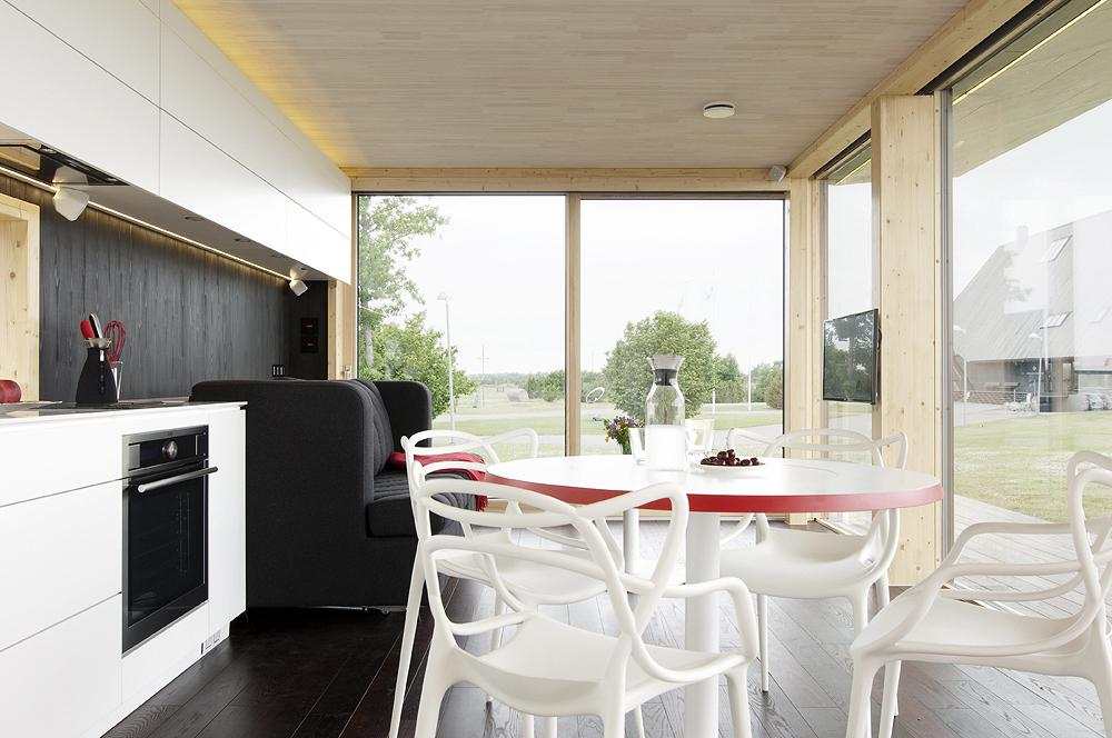 The prefab unit is delivered with furniture, and takes only a short time to assemble (Photo: Architect 11)
