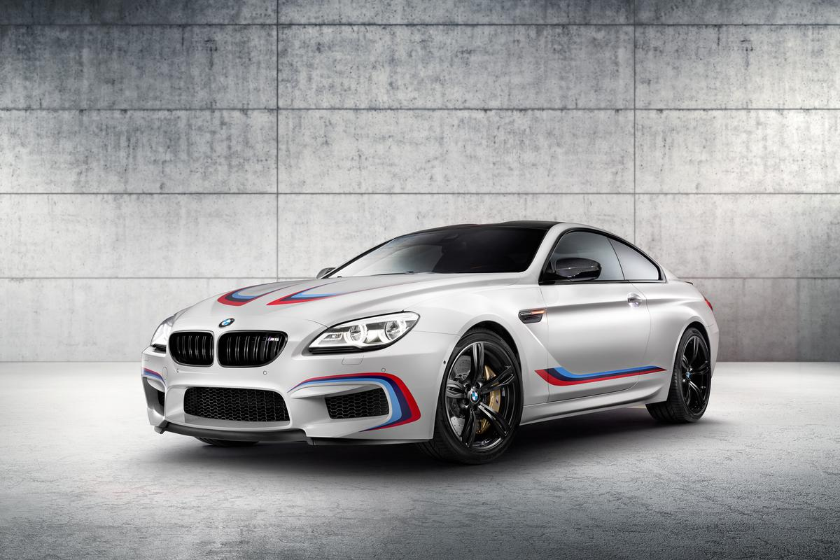 The BMW M6 Coupe Competition Edition shares its engine and bodywork stripes in the BMW M colors with the new M6 GT3