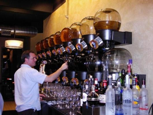 """The N2Wine """"wine globes"""" as installed at the Bleu Restaurant and Wine Bar, Columbia, Missouri."""