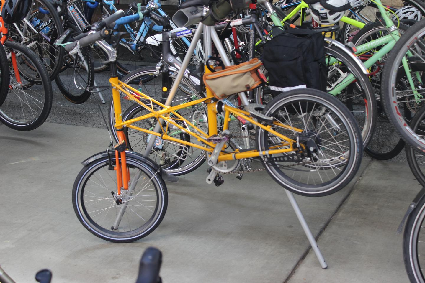 The fun starts even before you get inside at NAHBS – it's always worth checking out the parking area for interesting bikes