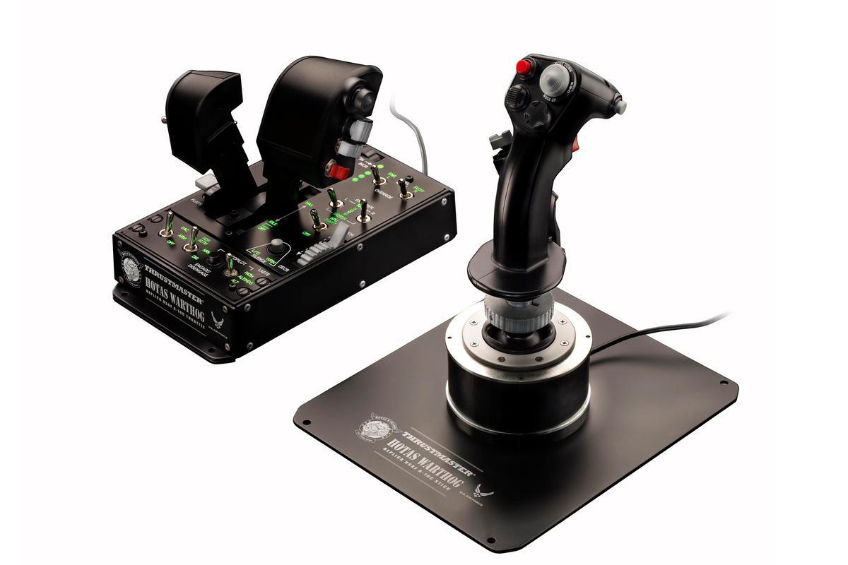 Thrustmaster's HOTAS WORTHOG flight simulation joystick and dual throttle system