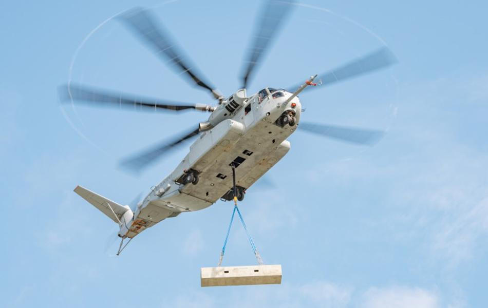 The Sikorsky CH-53 King Stallion lifts a 27,000-pound external load