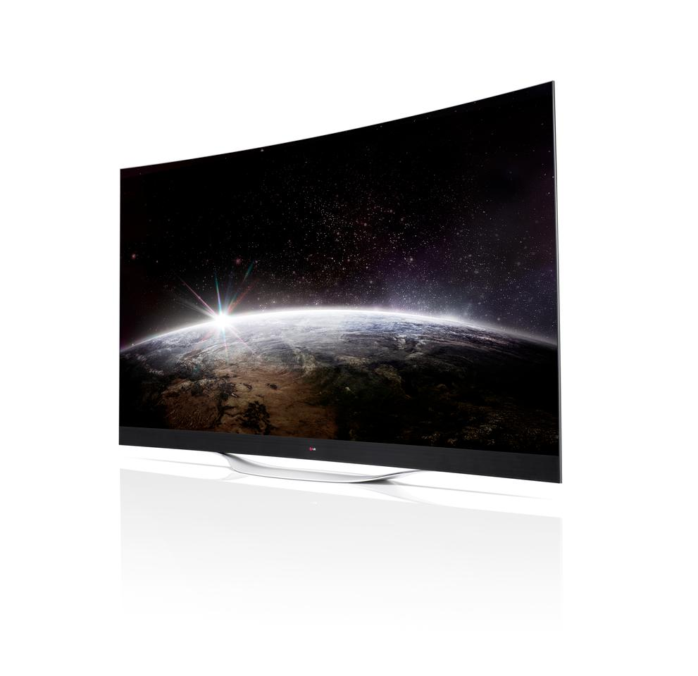 The 4K OLED TV boasts multi-channel surround sound and can be either wall mounted or supported by its leaf-shaped stand