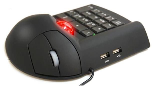 This all-in-one trackball mouse, USB hub and numeric keypad makes portable number-crunching easier