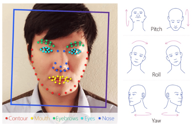 Some of the facial landmarks tracked by the neural network