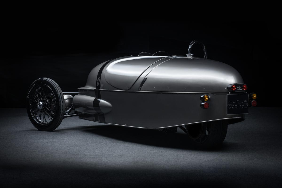 The 3-wheeler's dramatic tail is unchanged for the EV3