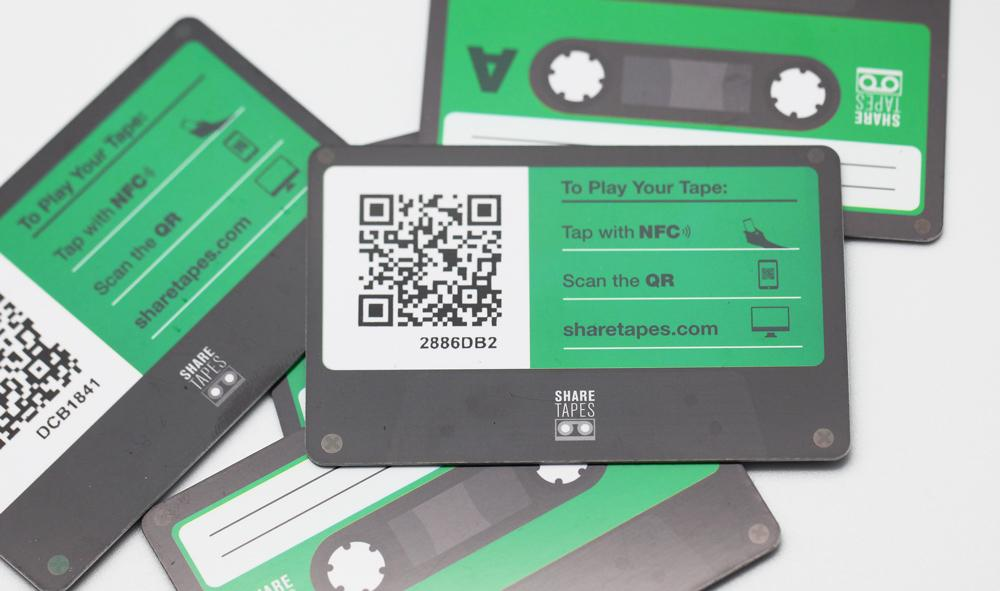 A stack of five Sharetapes cards for use with NFC and QR enabled smartphones