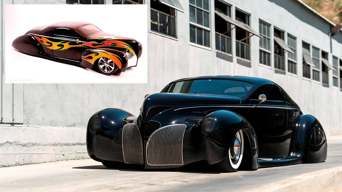 This Lincoln Zephyr moved intomainstream culturewhen Mattell built a 1/18 scale model of the car for it's top selling Hot Wheels range (inset) of toy cars, ensuring it became one of the most instantly recognisable cars on the planet for a generation.