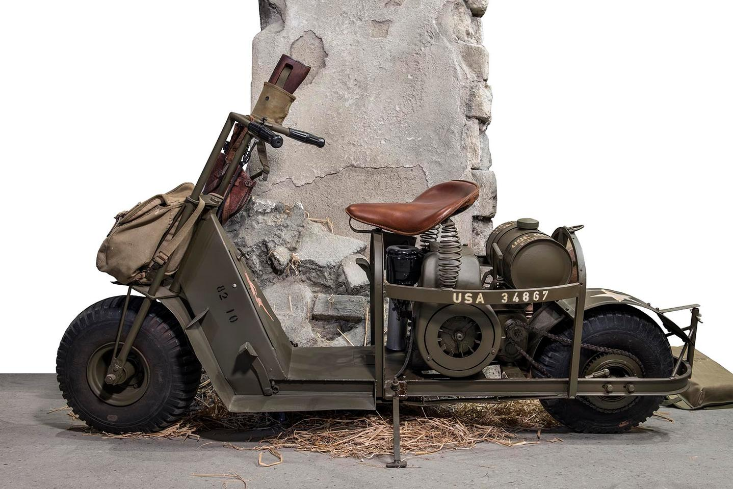 The Cushman M53-A motorcycle was specifically built to be delivered by glider or parachute behind enemy lines, and to give American marines instant 40 mph mobility and a range of 100 miles. The D-Day sale saw Artcurial set a world record price for the Cushman M53-A of EUR€142,600 (US$159,101) against a pre-sale estimate of €10, 000 to €20,000. The bike is now one of the 100 most expensive motorcycles ever sold at auction.