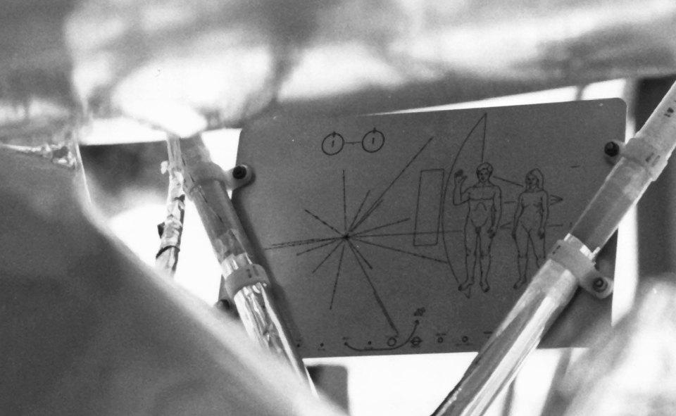 The Pioneer plaque bolted to one of the Pioneer probes
