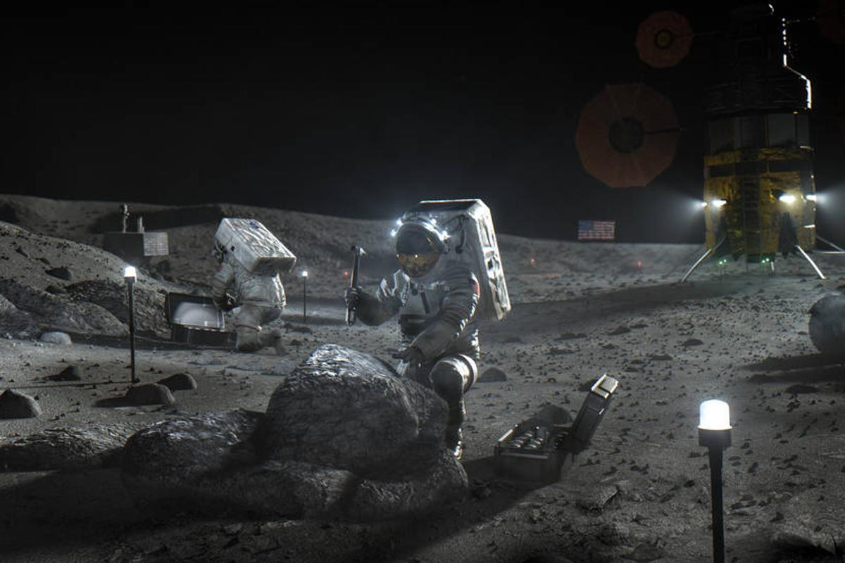 Illustration of Artemis astronauts on the Moon