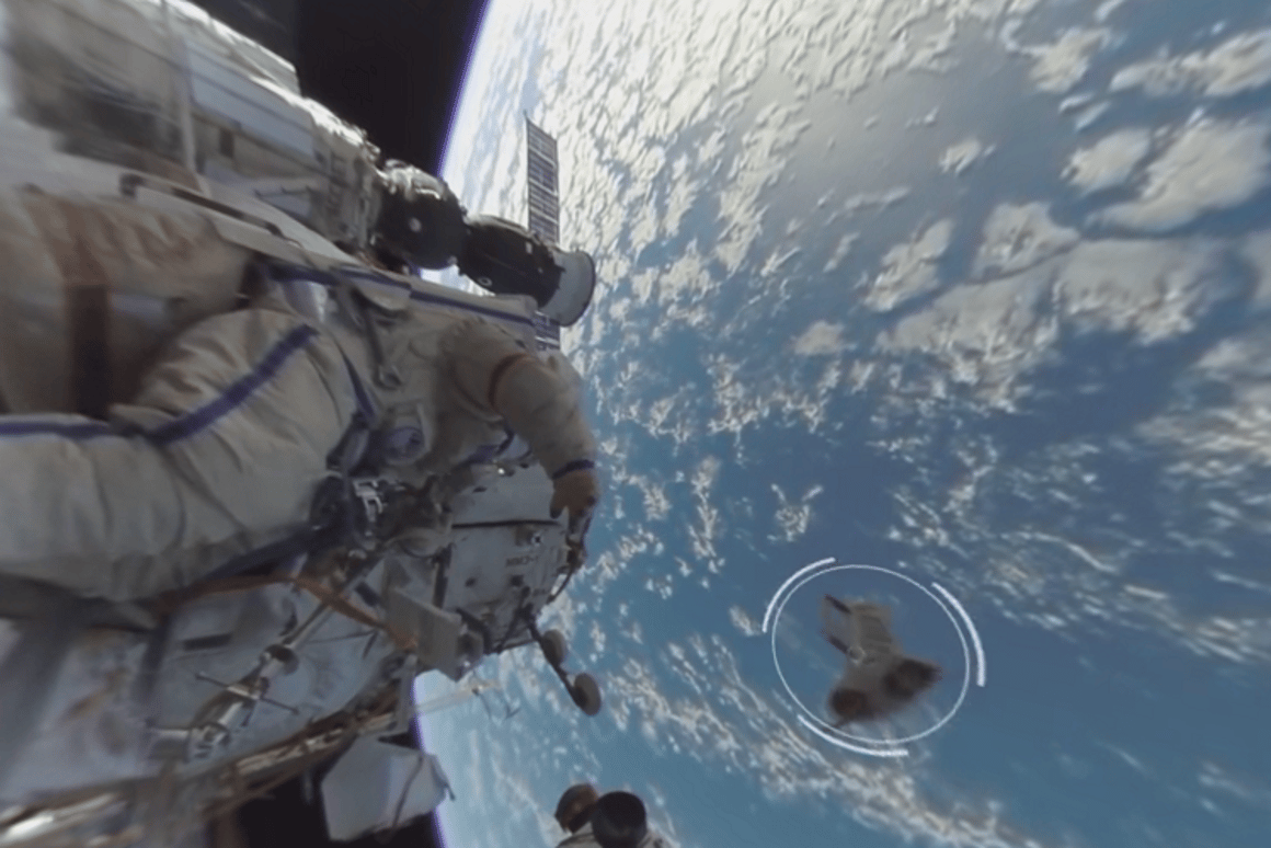 The 360-degree video shows Russian cosmonauts hurling satellites into orbit by hand