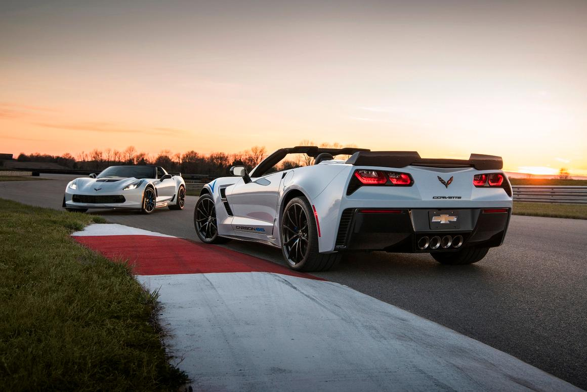 The new Corvette package includes a visible carbon spoiler